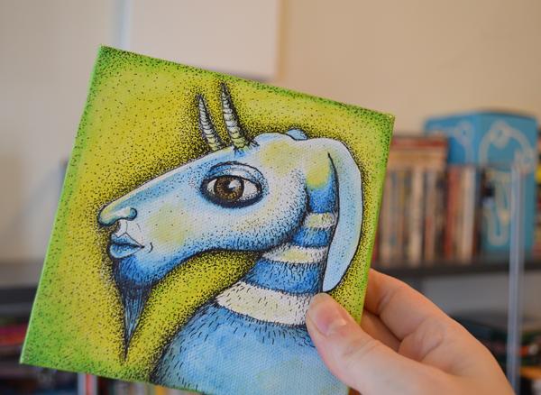 Small goat painting by Jennifer Rain Sherwin