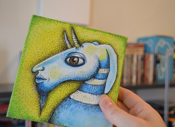 Small goat painting by Jennifer Rain Sherwin