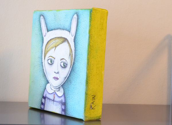 Rabbitgirl painting by Jennifer Rain Sherwin