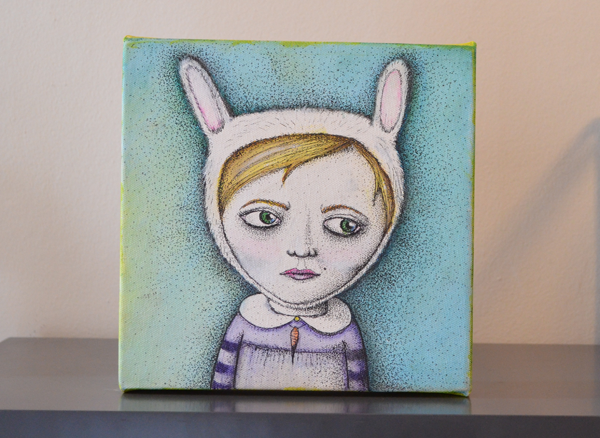 Rabbitgirl painting by Jennifer Rain Sherwin
